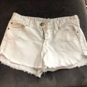Free People White Denim Jean Shorts